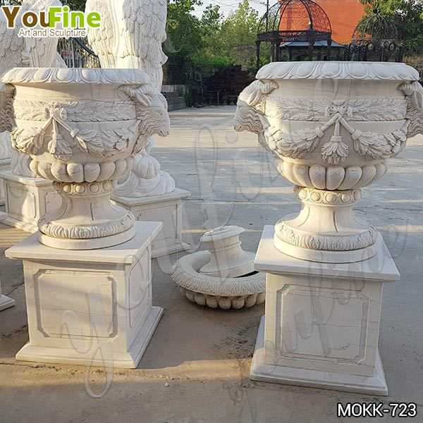 Lovely Pure White Marble Flower Pots Floral Decoration for Sale MOKK-723