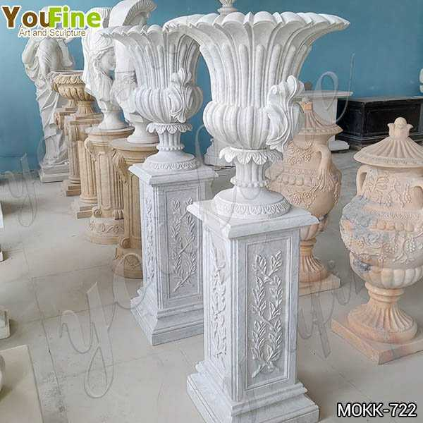Luxury Style White Marble Flower Pots Floral Decoration for Sale MOKK-722