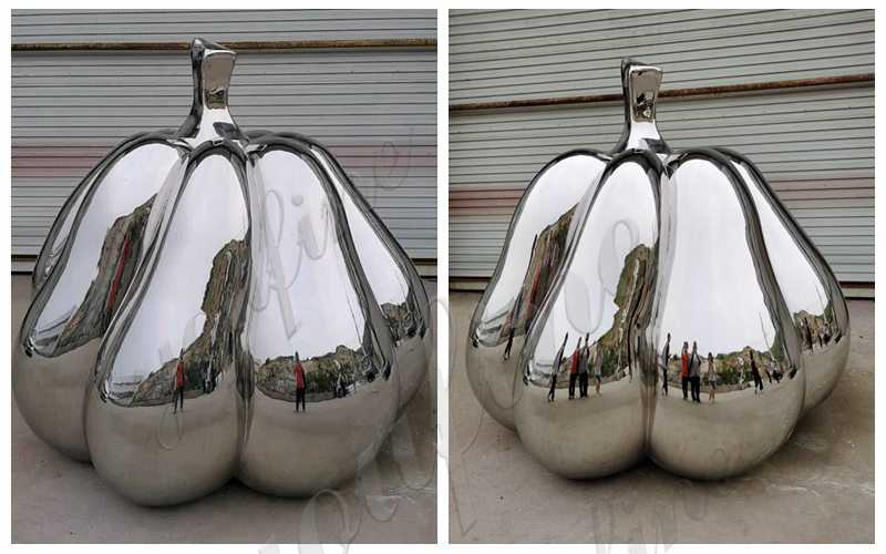 Mirror Polished Outdoor Stainless Steel Pumpkin Sculpture for Sale