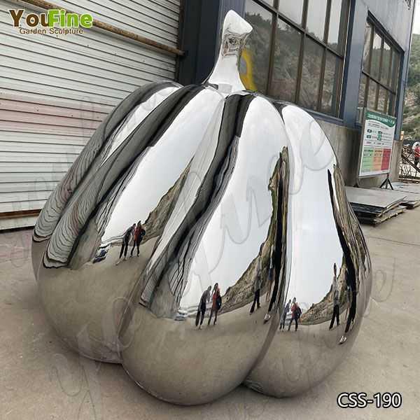 Mirror Polished Stainless Steel Pumpkin Sculpture