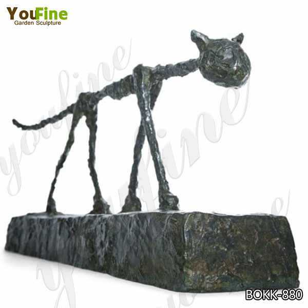 Modern Abstract Bronze Cat Sculpture By Giacometti for Sale