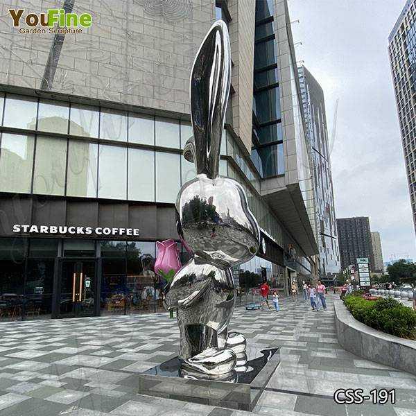 Modern Large Garden Stainless Steel Rabbit Sculpture