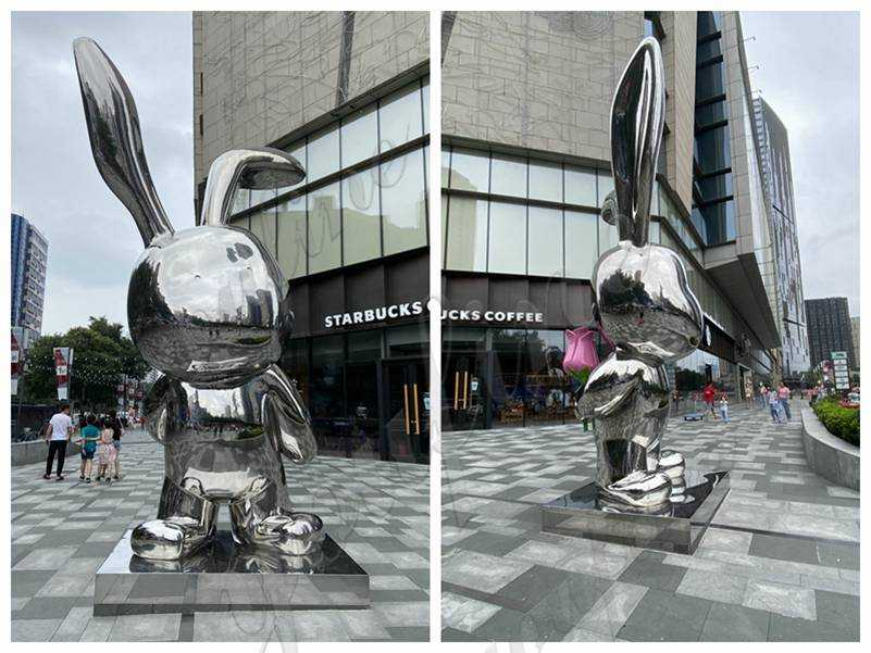 Modern Large Stainless Steel Rabbit Sculpture