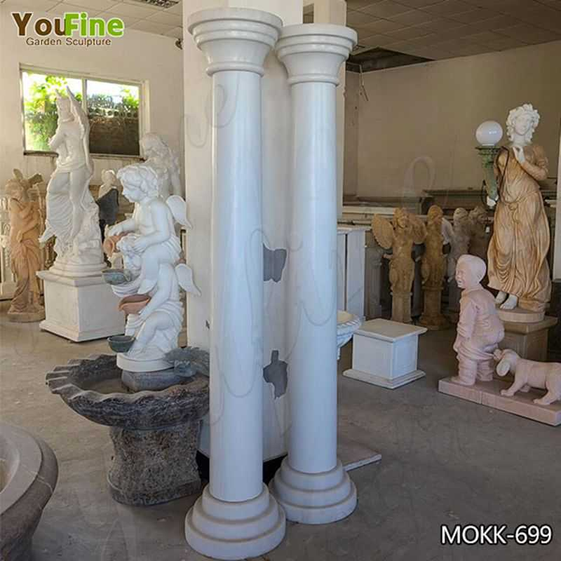 Natural Large White Solid Tuscan Marble Column from Factory MOKK-699