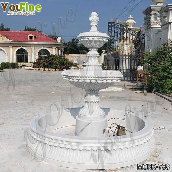 Natural White Marble Tiered Water Fountain for Sale