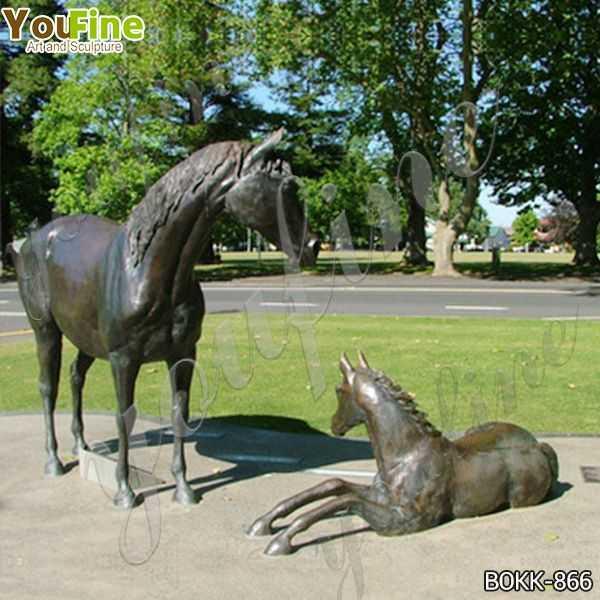 Outdoor Antique Bronze Mare with Foal Sculptures on Sale BOKK-866