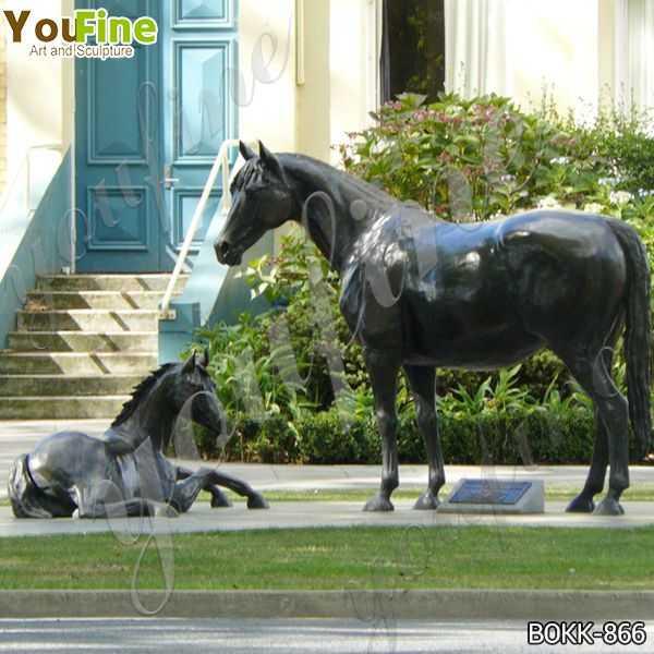Outdoor Antique Bronze Mare with Foal Sculptures