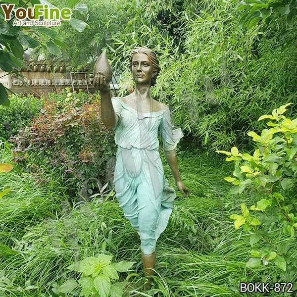 Life Size Outdoor Bronze Lady Garden Sculpture for Sale BOKK-872