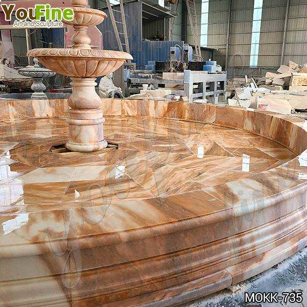 Outdoor Courtyard Red Three Tiered Marble Fountain for Sale