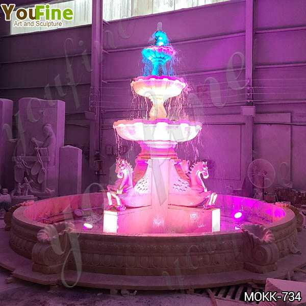 Best Outdoor White Marble Horse Fountain with Lights