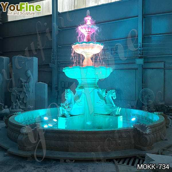 Outdoor White Marble Horse Fountain with Lights