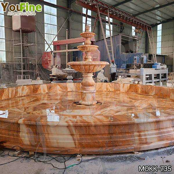 Red Three Tiered Marble Fountain for Sale
