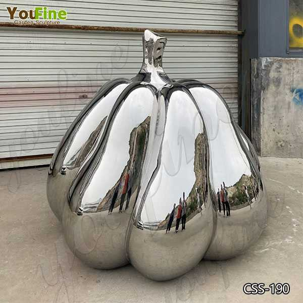 Mirror Polished Outdoor Stainless Steel Pumpkin Sculpture for Sale CSS-190
