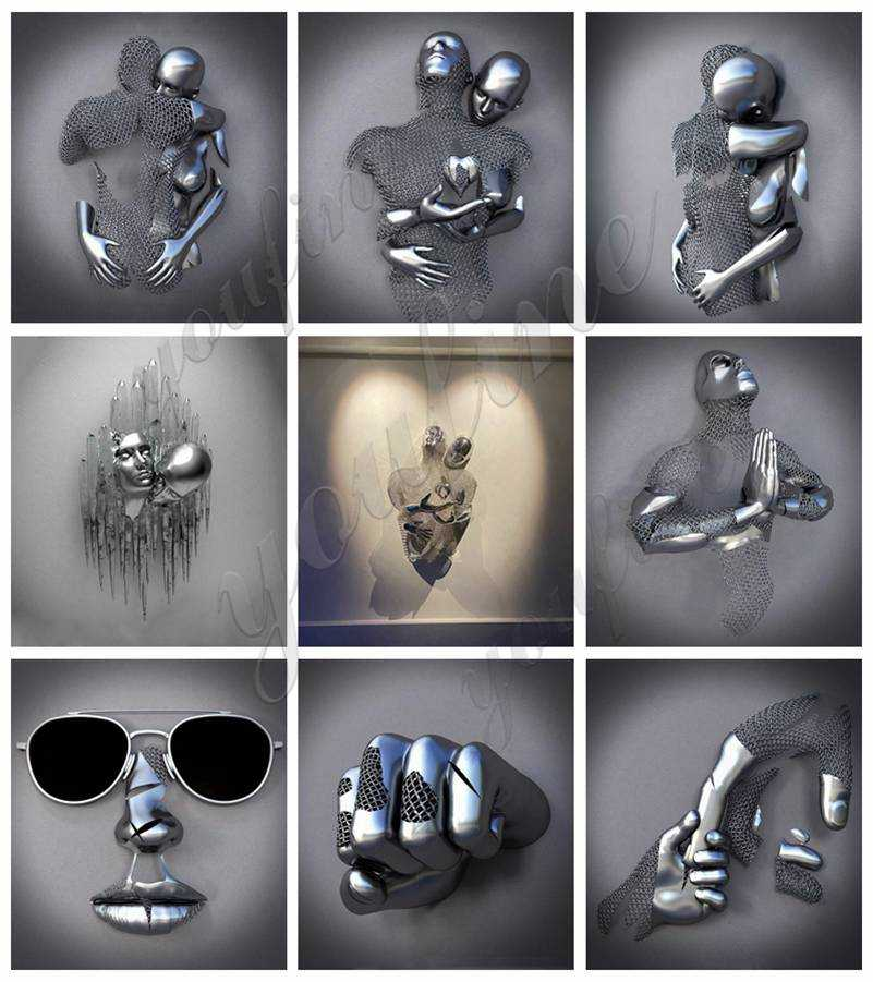 Wall Decorative Stainless Steel Man Sculptures