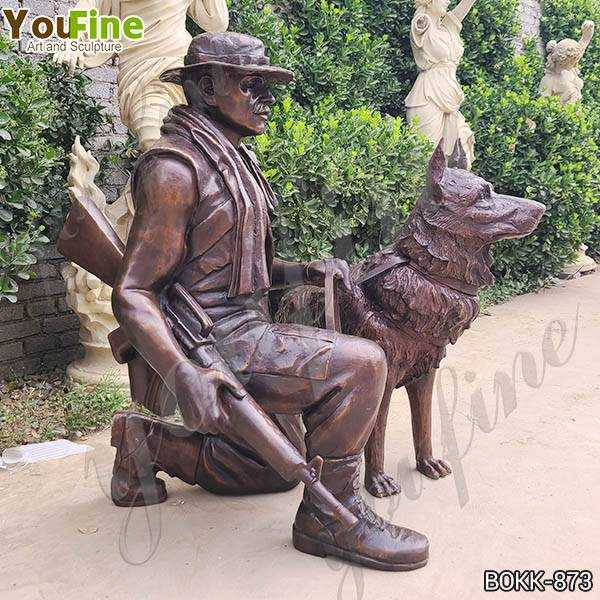 War Memorial Bronze Soldier with Dog Statue for Sale