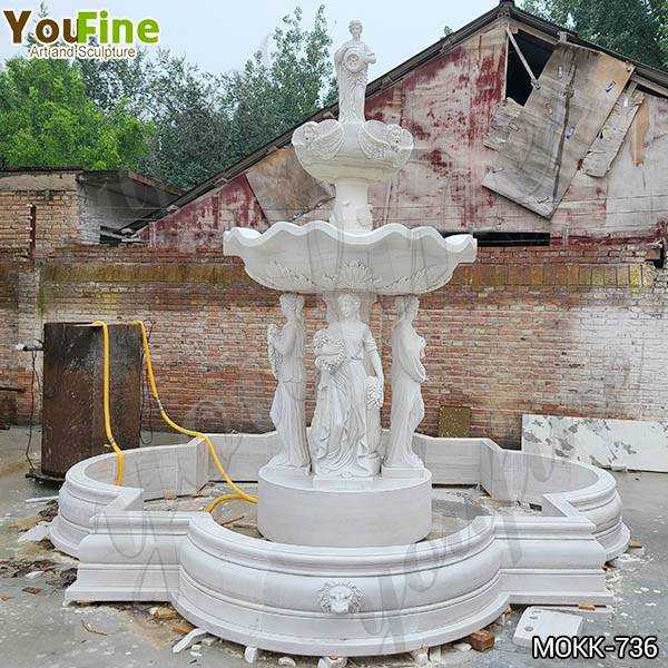 Grand Style White Marble Ladies Statue Fountain Factory Supply MOKK-736
