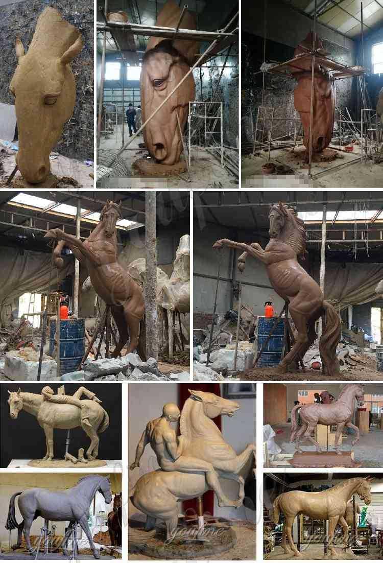clay model of horses statue