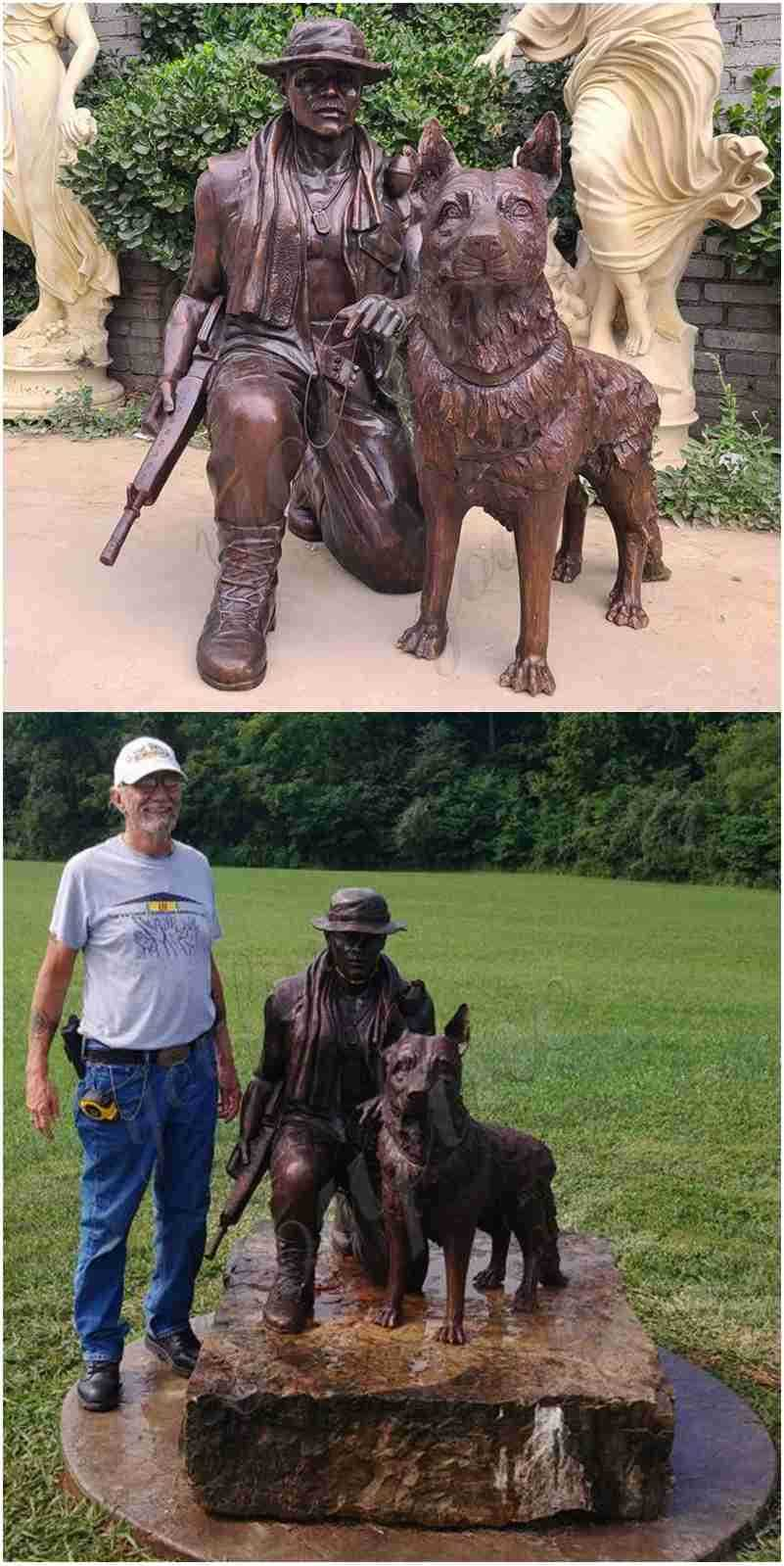 memorial soldier with dog statue
