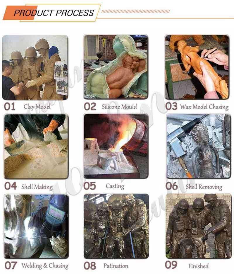 process of kneeling soldier garden statue