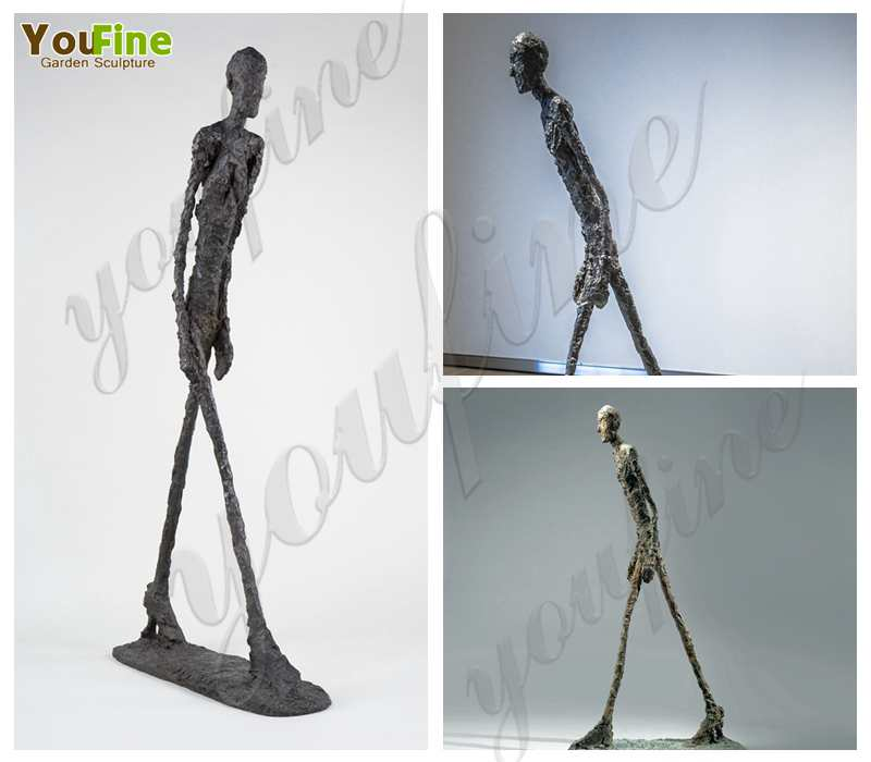 Abstract Giacometti's Bronze Walking Man Sculpture