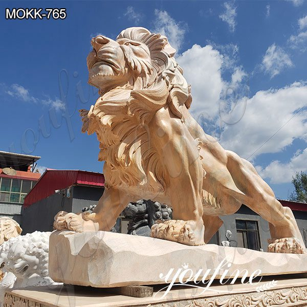 Beige Marble Lion Yard Statues for Driveway Suppliers