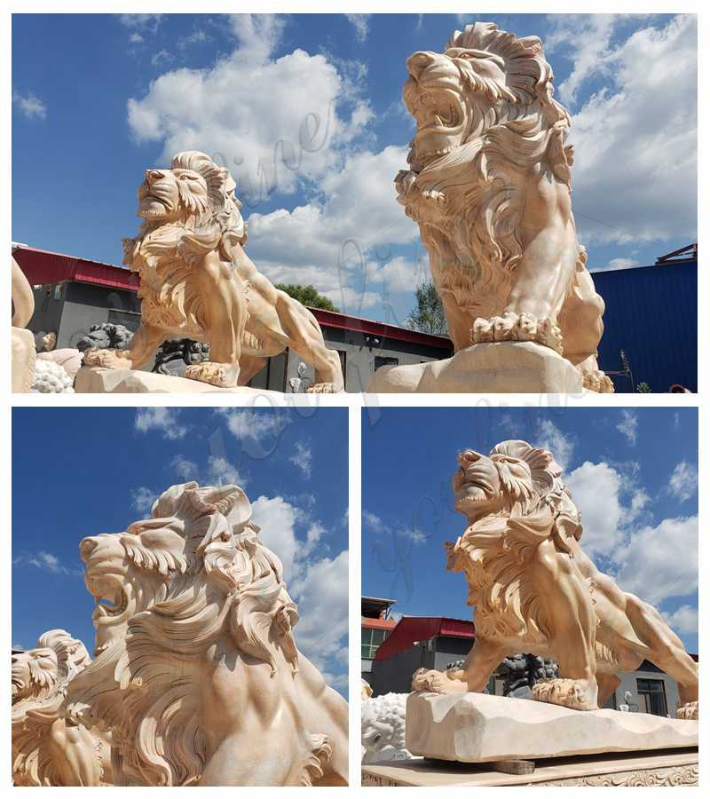 Beige Marble Lion Yard Statues for Driveway