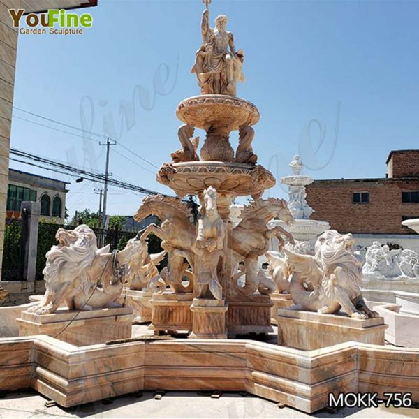Beige Tiered Marble Water Lion Fountain Poseidon Statue