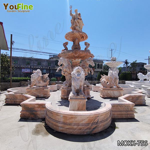 Beige Tiered Marble Water Lion Fountain Poseidon Statue for Sale MOKK-756