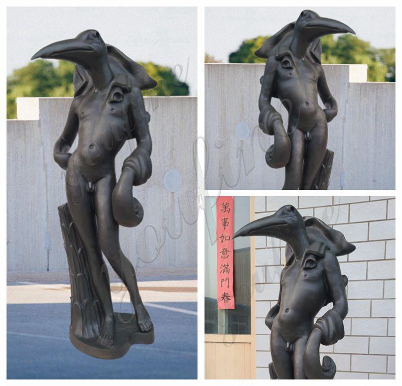 Bronze Birdman Sculpture by Salvador Dali details
