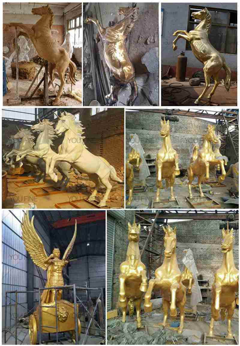 Bronze Horse Chariot Statue with Angel statue