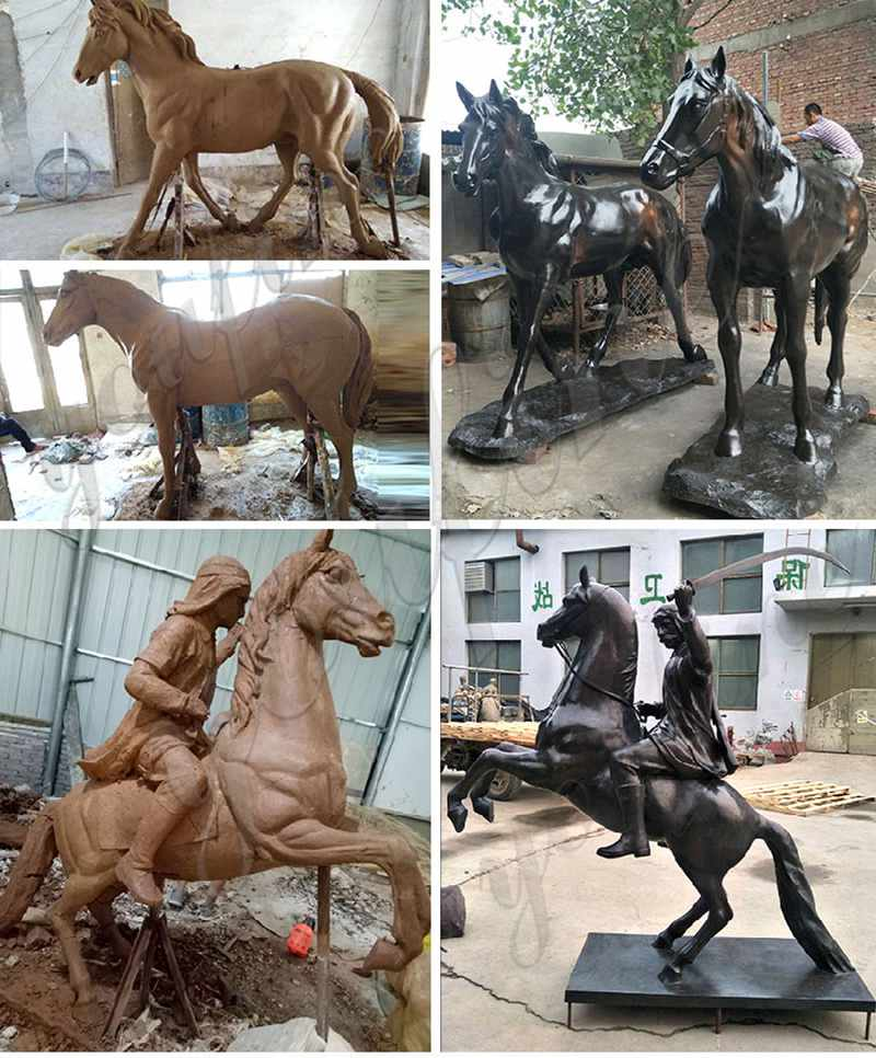 Bronze Warrior Horse Statue