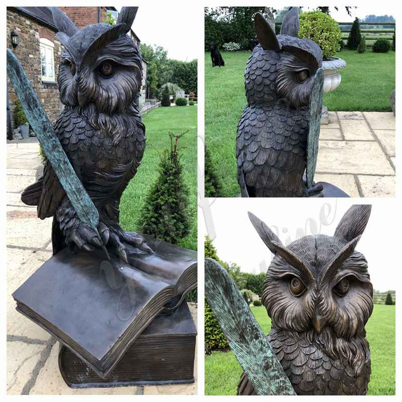 Bronze owl sculpture for sale