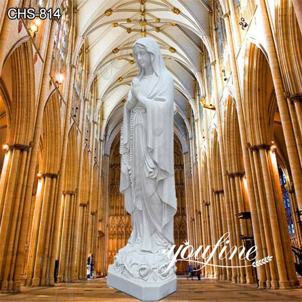 Catholic Outdoor White Marble Our Lady of Lourdes Statue Factory Direct