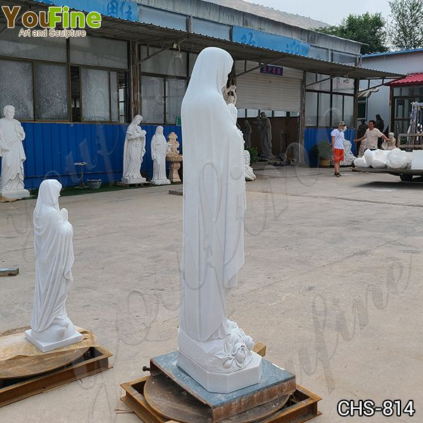 Catholic Outdoor White Marble Our Lady of Lourdes Statue