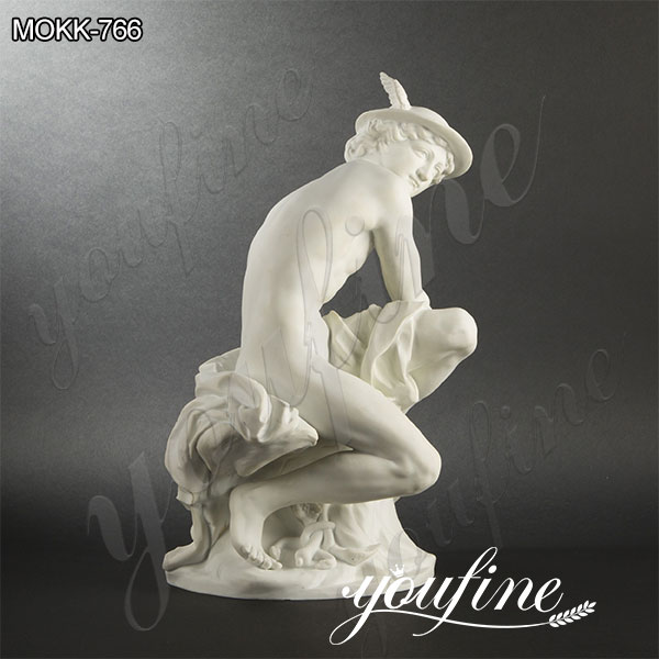 Classic Marble Mercury Attaching His Wings Statue by Jean-Baptiste Pigalle for Sale