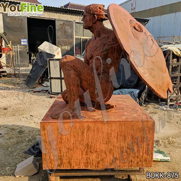 Custom Made Antique Bronze Man and Sword Statue