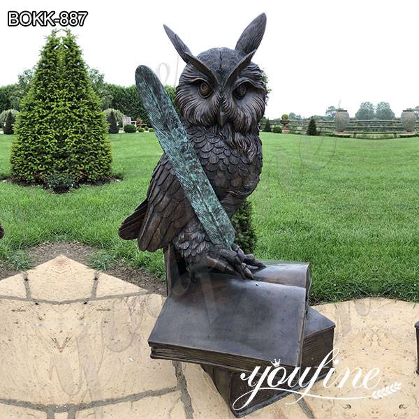 Garden Bronze Owl Standing on Book Statue