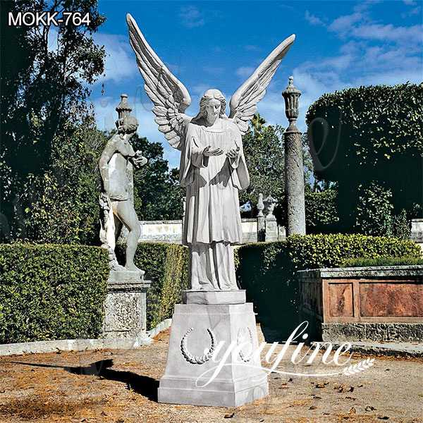 Garden White Marble Grand Cathedral Angel Sculpture for Sale