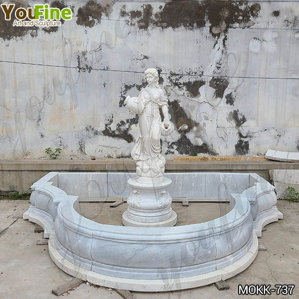 Hand Carved White Marble Water Maiden Fountain Factory Direct