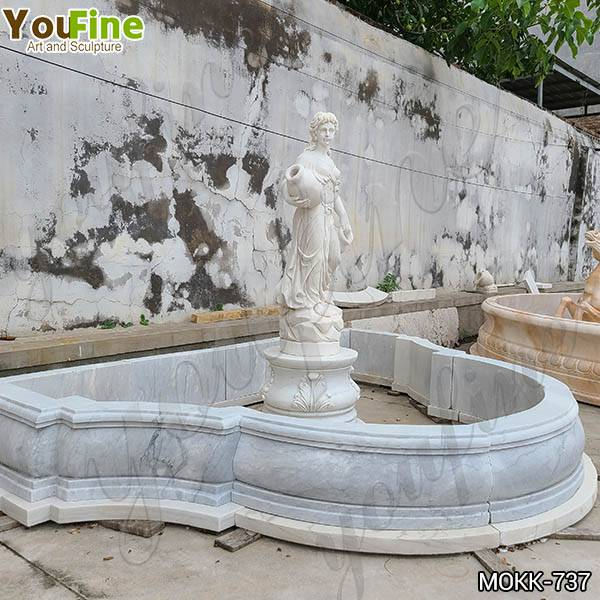 Hand Carved White Marble Water Maiden Fountain