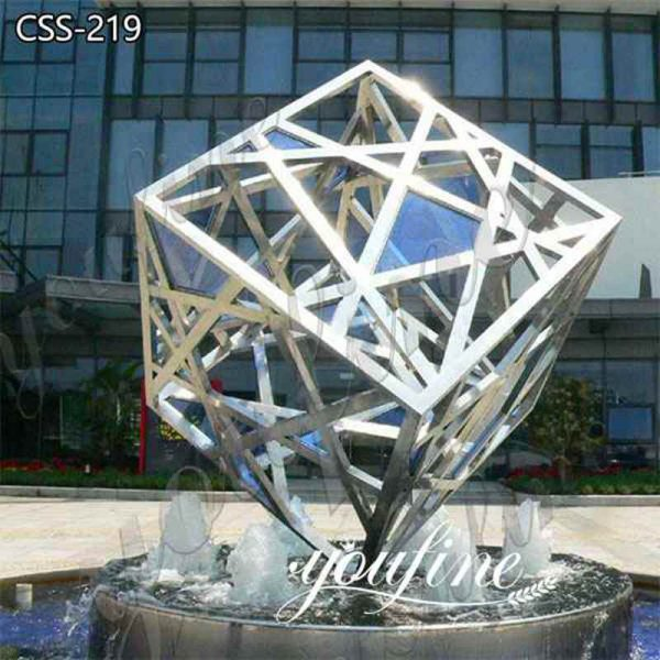 High Quality Modern Stainless Steel Outdoor Cube Sculpture for Sale CSS-219