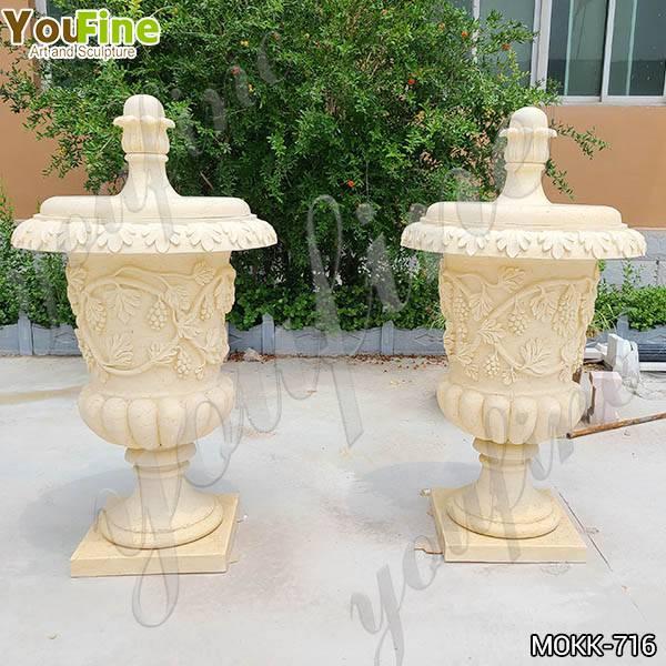 Hot Sell Antique Style Beige Marble Flower Pots Garden Decor MOKK-716