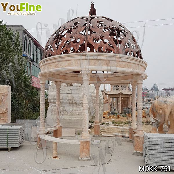 Large Size Classical Marble Gazebo with Metal Hat for Sale MOKK-751