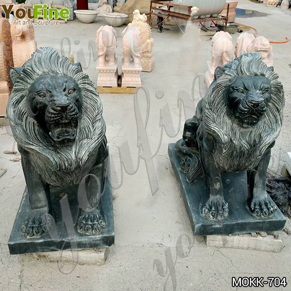 Life Size Antique Stone Lion Garden Statues from Factory MOKK-704