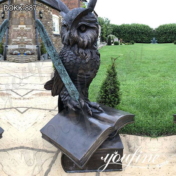 Life Size Garden Bronze Owl Standing on Book Statue for Sale