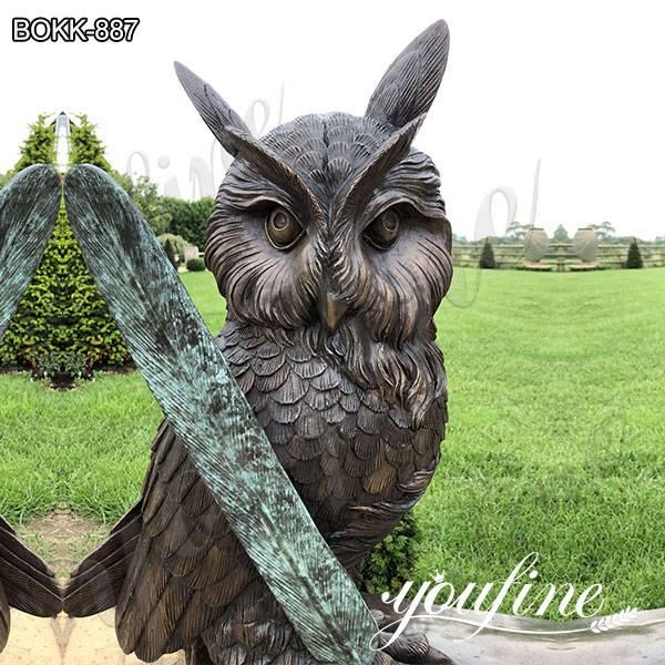 Life Size Garden Bronze Owl Standing on Book Statue