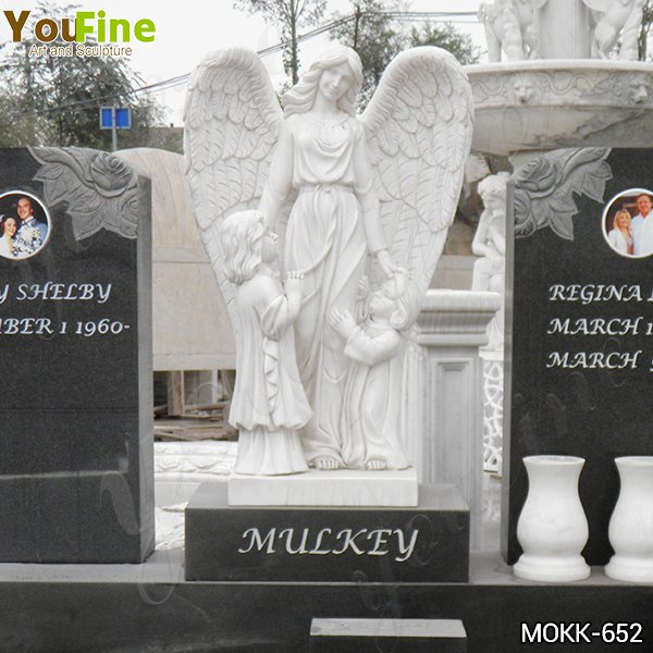 Marble Angel Memorials Headstones with Upright Granite Monument