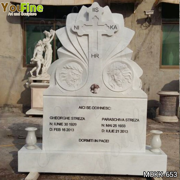 Natural White Marble Cross Upright Headstone from Factory Supply MOKK-653