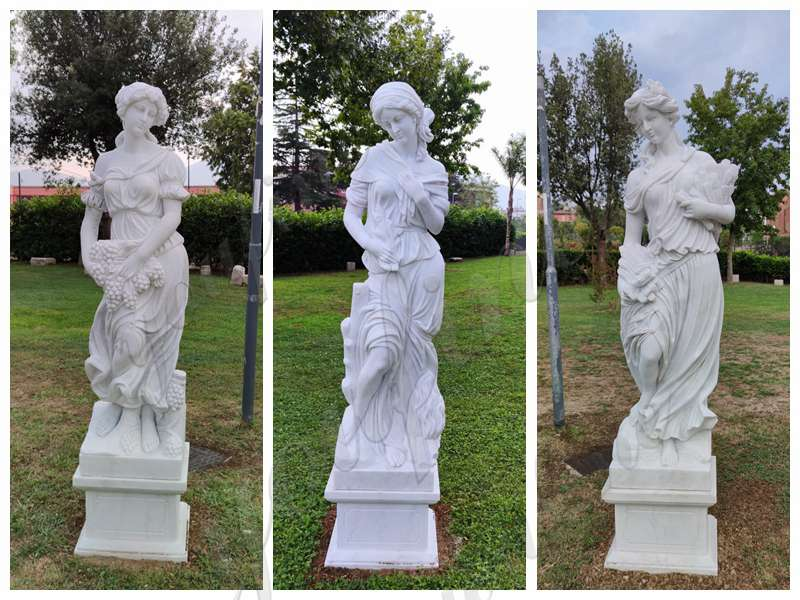 Marble Four Seasons Statues and Marble Fountain for Italian Client's Villa Garden