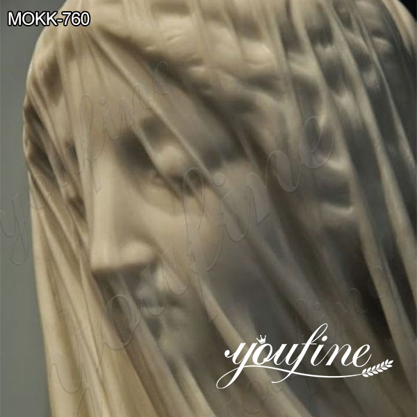 Marble Veiled Virgin Bust Statue By Strazza